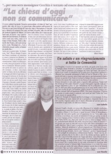 articolo la Chiesa e la società oggi giugno 2009