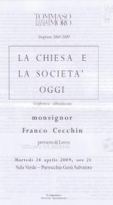 iziziativa la Chiesa e la società oggi 28.04.2009